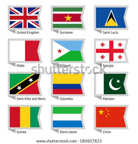Flags of world, flat vector illustration. Set number 07
