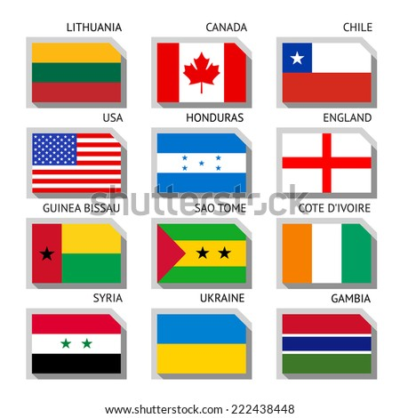 Flags of world, flat vector illustration. Set number 01 - stock vector