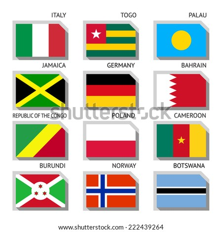 Flags of world, flat vector illustration. Set number 06