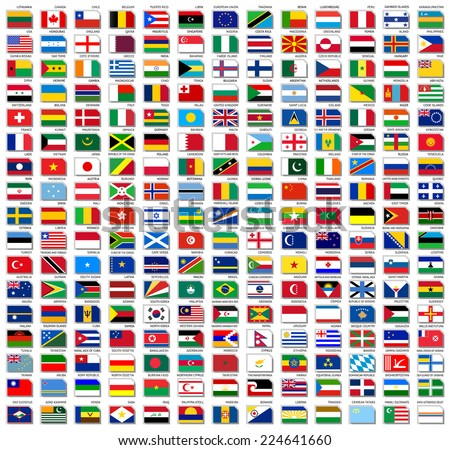 Flags of world, flat vector illustration, set (october 2014) - stock vector