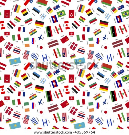 Flags of world sovereign states with names on white, seamless pattern