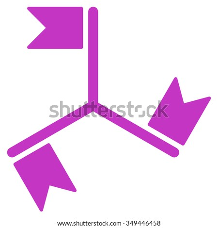 Flags vector icon. Style is flat symbol, violet color, rounded angles, white background.