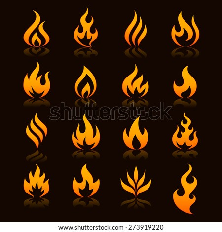 flame and fire vector icons with reflections on a dark background - stock vector