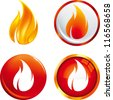 Flame buttons - stock vector