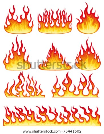 Flame collection. Vector