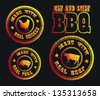 Flame Grilled And BBQ Icons - stock vector