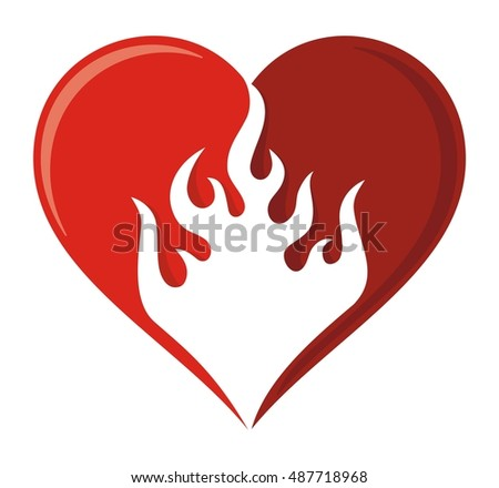Flame heart icon in two shades of red.