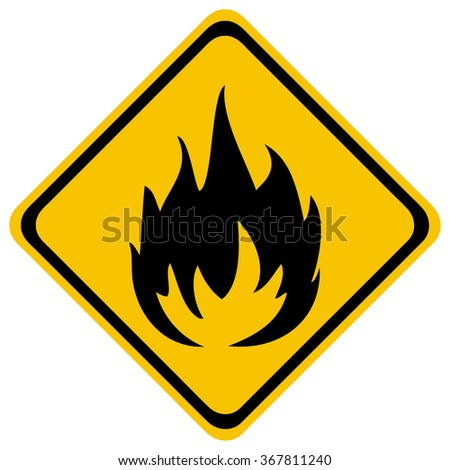 Flame Industrial Diamond Shaped Yellow Warning Sign, Vector Illustration.  - stock vector