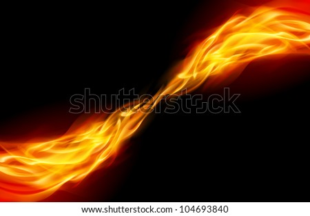 Flame tail in Space for You design on black - stock vector
