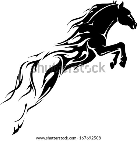 Flame Trail Horse showing speed power - stock vector