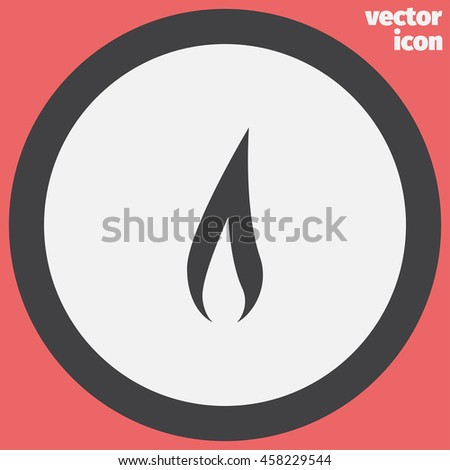 Flame vector icon. Fire symbol. Flammable sign