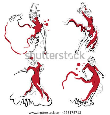 Flamenco dance elements. Dancer figure sketch.