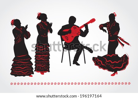 Flamenco dancers and a guitarist. Set of silhouettes on a white background. - stock vector