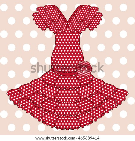 Flamenco dress background, seamless pattern,  vector illustration