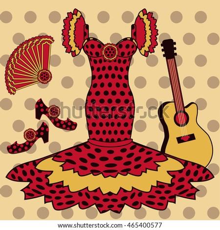 Flamenco pattern with spanish guitar, vector illustration