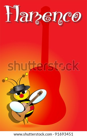 Flamenco Spanish bee with guitar, card from Spain