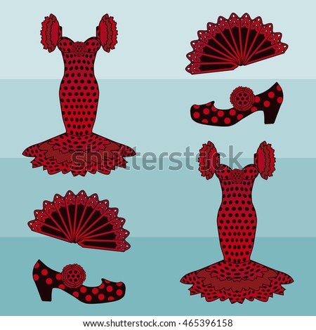 Flamenco style seamless pattern, vector illustration