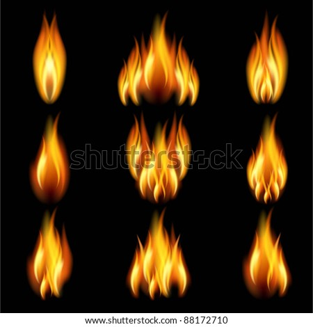 Flames of different shapes on a black background. EPS10. Mesh. - stock vector