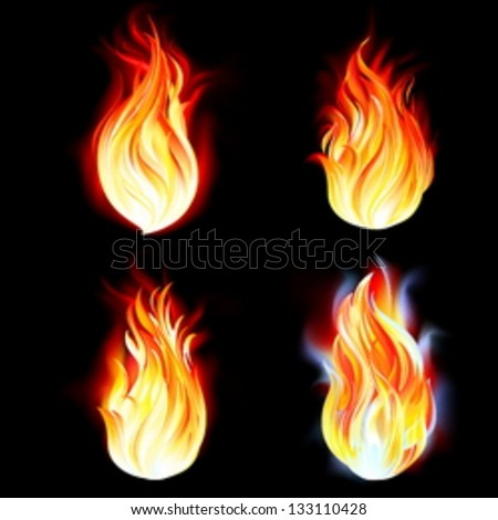 Flames of fire, realistic vector illustration on black background - stock vector