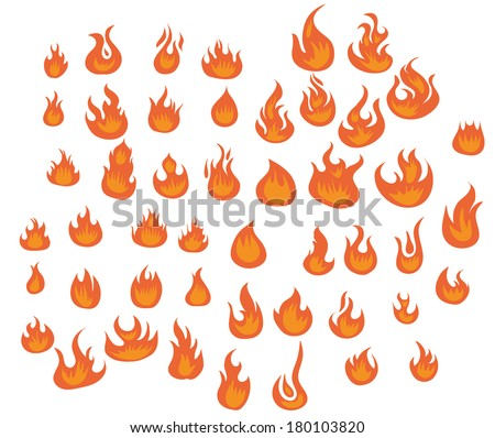 Flames vector set  - stock vector