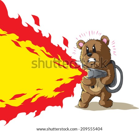 Flamethrower Bear - stock vector
