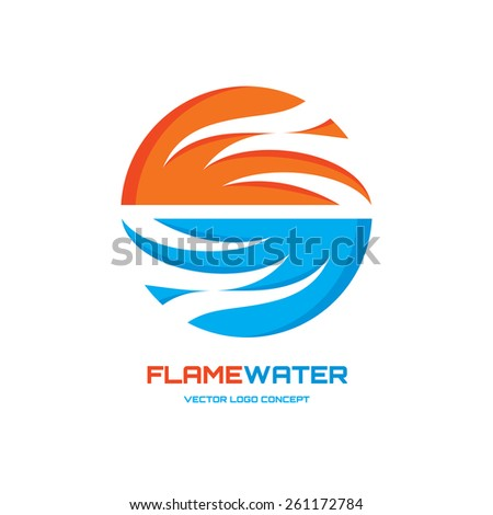 Flamewater - abstract vector logo concept illustration. Vector logo template. Design element.  - stock vector