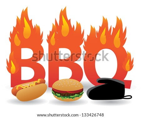 Flaming barbecue design element. EPS 8 vector, grouped for easy editing. No open shapes or paths. - stock vector