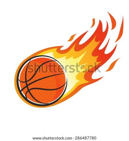 flaming basket ball - stock vector