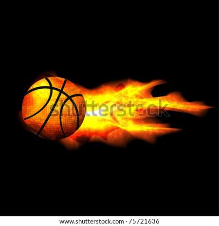 flaming basketball - stock vector