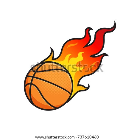 flaming basketball ball on fire vector stock vector hd royalty free rh shutterstock com team with flaming basketball logo Basketball Logo Design