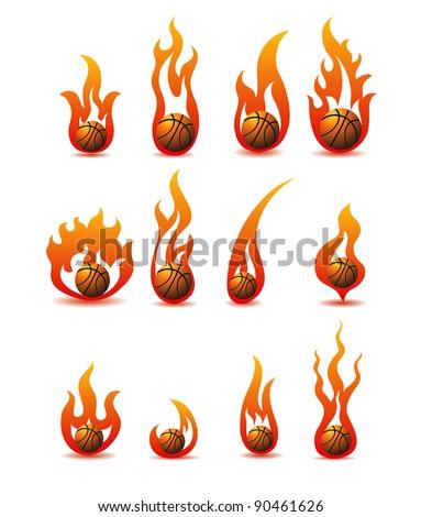 flaming basketballs - stock vector