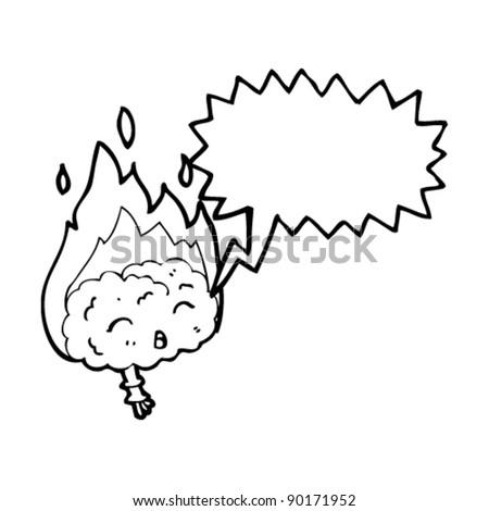 flaming brain cartoon - stock vector