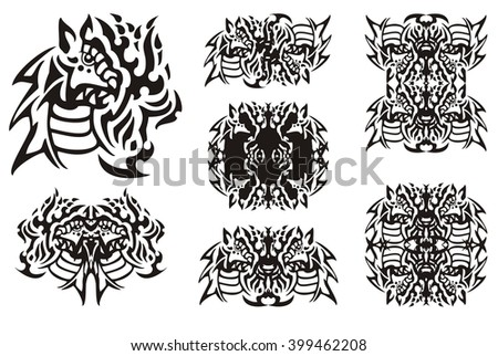 Flaming dragon symbols in tribal style. The head of a furious fiery dragon and the symbols formed from it - stock vector