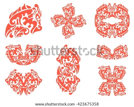 Flaming dragon symbols isolated on a white background. Dragon head, dragon cross, dragon butterfly and other  double dragon symbols  - stock vector