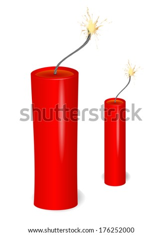 flaming dynamite - stock vector
