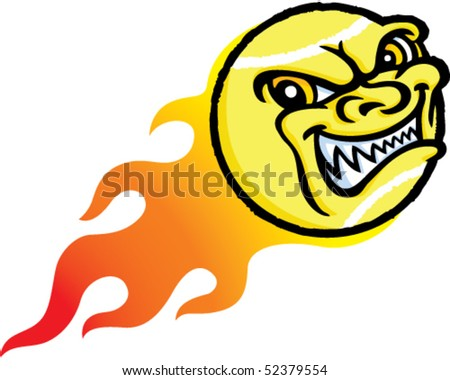Flaming Evil Tennis Ball - stock vector