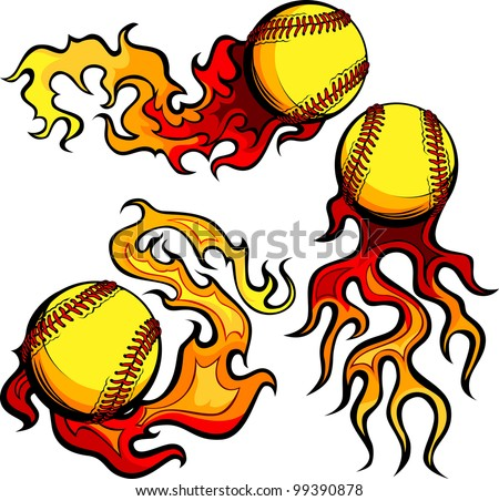 Flaming Graphic Softball Sport Vector Image with Flames - stock vector