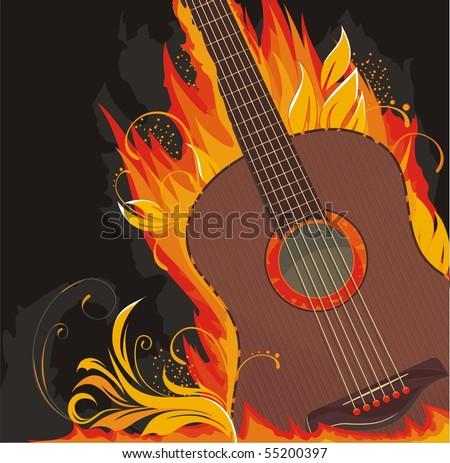flaming guitar - stock vector