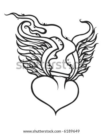 Flaming Heart - stock vector