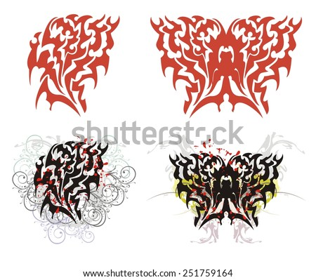 Flaming heart and butterfly in red and black options. Flaming heart and butterfly with splashes, blood drops and floral elements in tribal style - stock vector