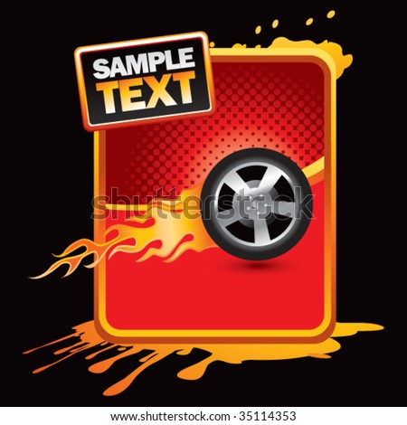 flaming racing tire on grunge banner - stock vector