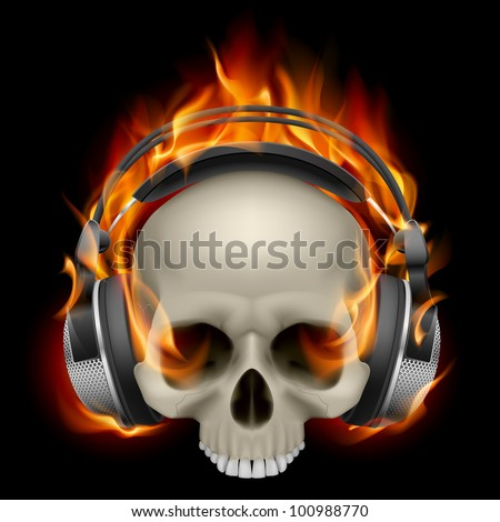 Flaming Skull Wearing Headphones on black background - stock vector
