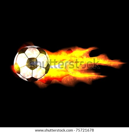 flaming soccer ball - stock vector