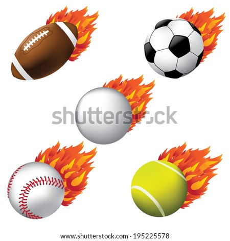 Flaming sports symbols icons. EPS 10 vector. - stock vector
