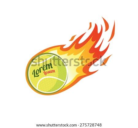 flaming tennis ball - stock vector