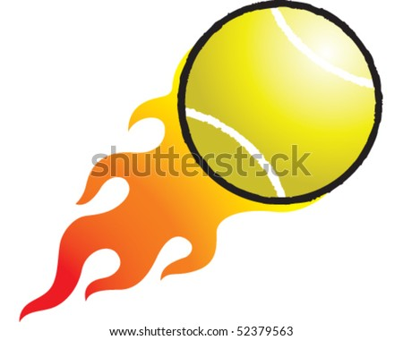 Flaming Tennis Ball - stock vector