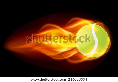 Flaming tennis ball on black background  - stock vector