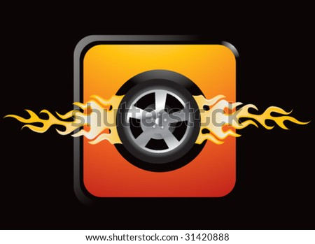 flaming tire on orange web button - stock vector