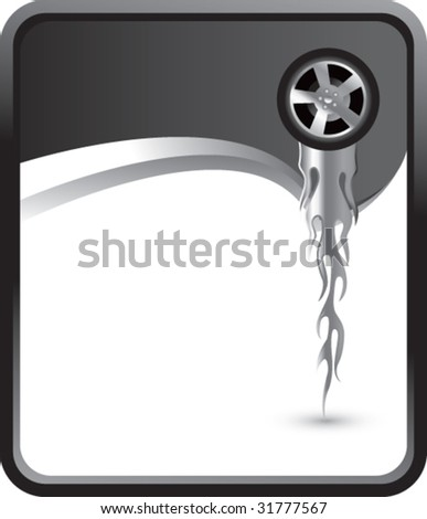 flaming tire on rip curl background - stock vector