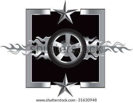 flaming tire on star background - stock vector